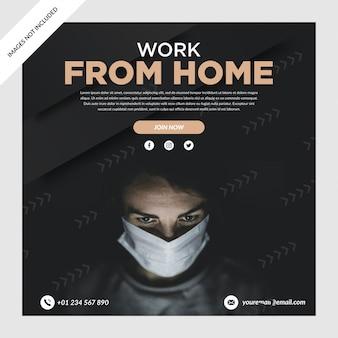 Postagem em mídia social com banner de trabalho em casa