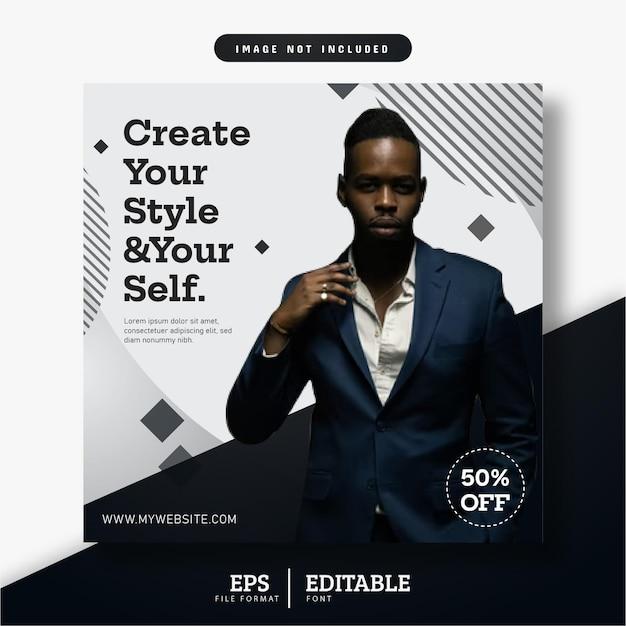 Postagem em mídia social de banner comercial, design em preto e branco