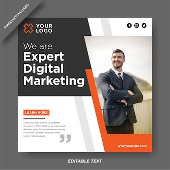 Postagem em mídia social de banner de marketing digital