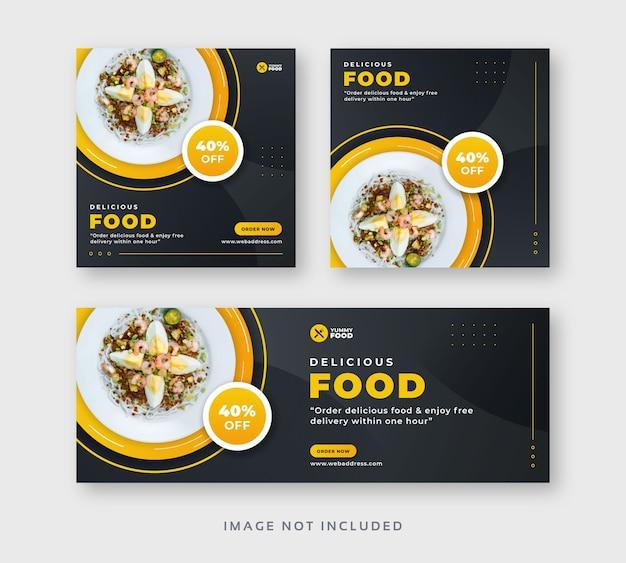 Postagem em mídia social de comida de restaurante com banner da web de capa