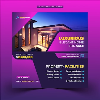 Postagem em mídia social de venda de casa imobiliária ou modelo de publicidade de banner web quadrado