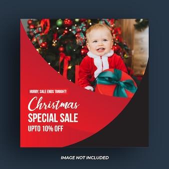 Postagem em mídia social de venda de natal ou modelo de banner na web