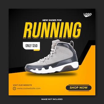 Postagem em mídia social de venda de tênis de corrida com conceito preto e amarelo