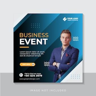 Postagem em mídia social e banner na web para eventos de negócios digitais