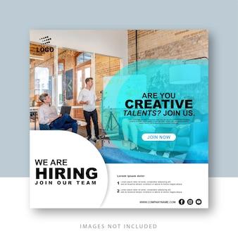 Postagem em mídia social: estamos contratando modelo de trabalho
