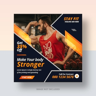 Postagem em mídia social no instagram do gym club e design de banner na web
