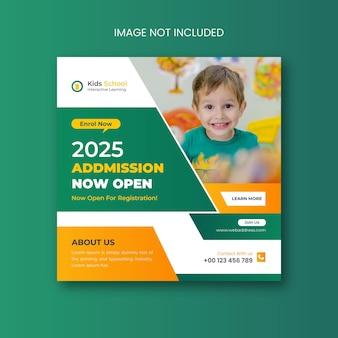 Postagem em mídia social para admissão escolar e design de banner na web