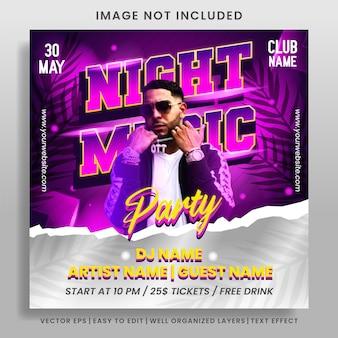 Postagem em mídia social para festa de música noturna e modelo de banner da web