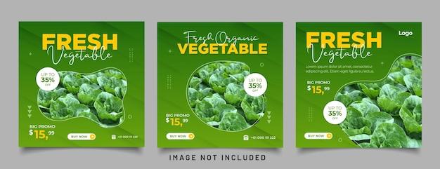 Postagem em mídia social para promoção de alimentos oferece pôster em banner e postagem de mídia social de comida saudável