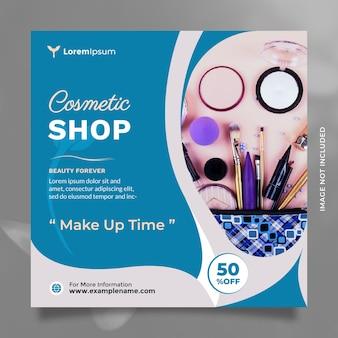 Postagem em mídia social para venda de cosméticos e produtos de beleza e promoção de banner com a cor azul moderna