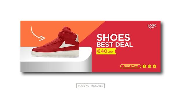 Postagem em mídia social para venda de tênis esportivos e modelo de banner da web
