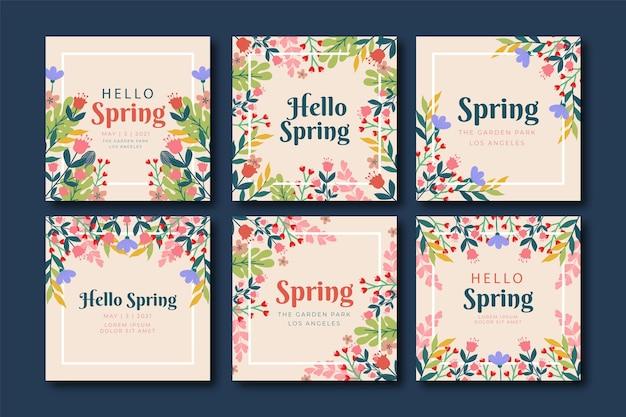 Postagem floral colorida linda moldura no instagram