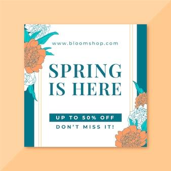 Postagem floral elegante de primavera no instagram