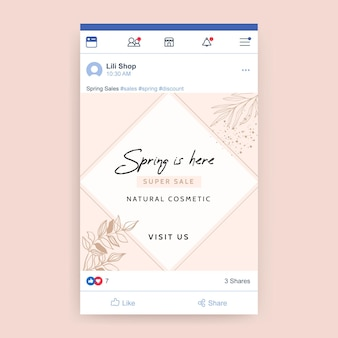Postagem geométrica elegante primavera no facebook