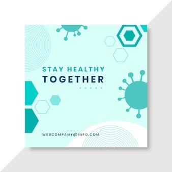 Postagem geométrica minimalista do coronavírus no facebook