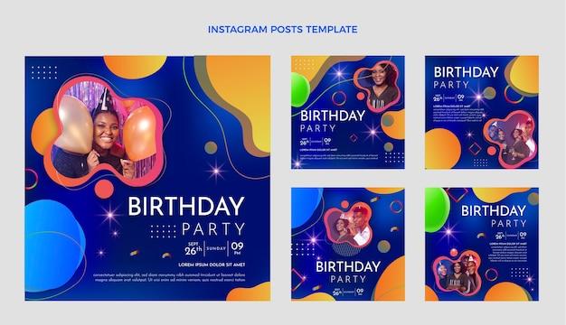 Postagem gradiente de aniversário colorido no instagram