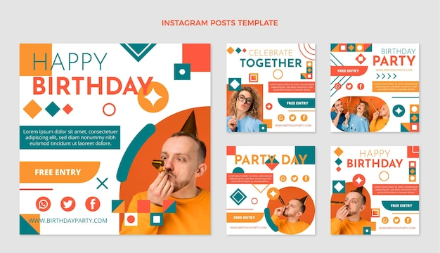 Postagem ig de aniversário em mosaico de design plano