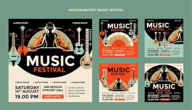 Postagem ig do festival de música colorida desenhada à mão
