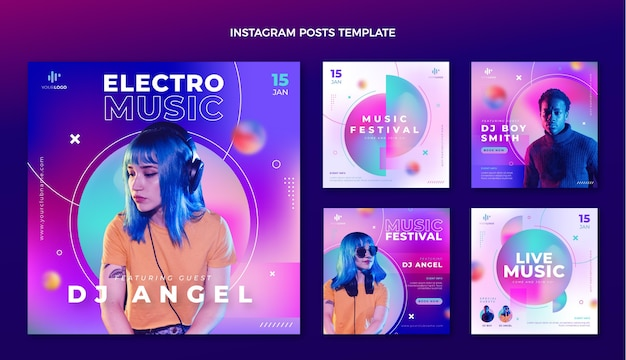 Postagem ig do festival de música de textura gradiente