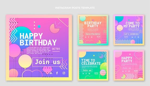 Postagem ig gradiente colorida de aniversário