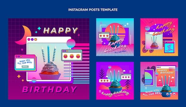 Postagem instagram de aniversário de gradiente retro vaporwave