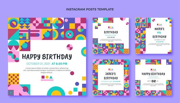 Postagem instagram de aniversário de mosaico de design plano