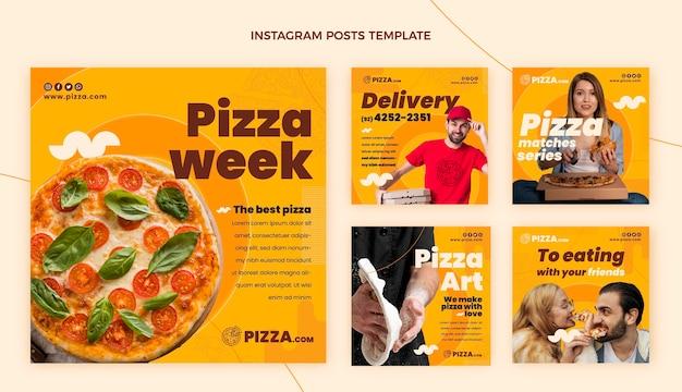 Postagem instagram de pizza de design plano