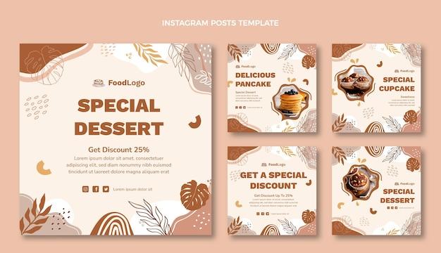 Postagem instagram de sobremesa especial de design plano