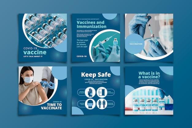 Postagem instagram de vacina plana definida com fotos