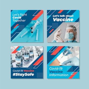 Postagem instagram de vacinação plana com fotos
