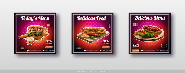 Postagem instagram de venda de comida e modelo de banner de mídia social
