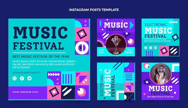 Postagem instagram do festival de música mosaico plano