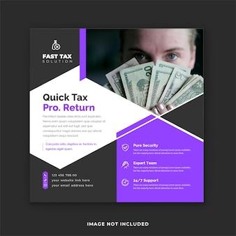 Postagem instagram e modelo de postagem em mídia social para solução de serviço de impostos sem complicações