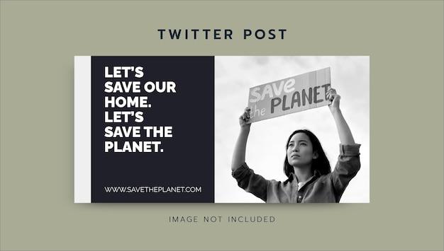 Postagem minimalista no twitter de conscientização de organizações sem fins lucrativos