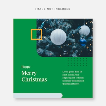 Postagem modelo de design de natal instagram verde