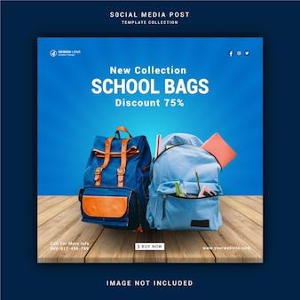 Postagem nas mídias sociais das bolsas escolares