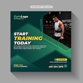 Postagem nas mídias sociais do treinamento para exercícios físicos na academia