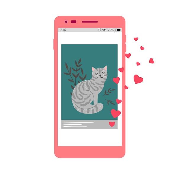 Postagem nas redes sociais. como para o gato, gatinho fofo estrela da internet. vício em animais de estimação, ilustração vetorial de foto com animal na tela