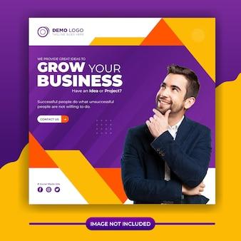Postagem nas redes sociais de crescimento empresarial