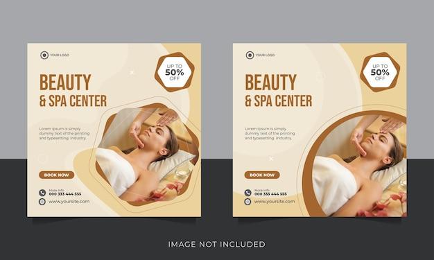 Postagem nas redes sociais de promoção de beleza e spa