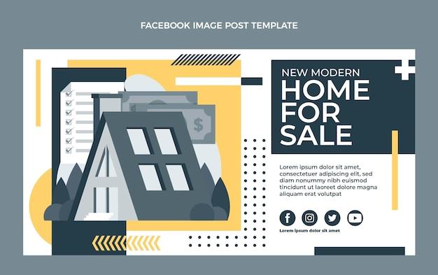 Postagem no facebook de imóveis geométricos de design plano