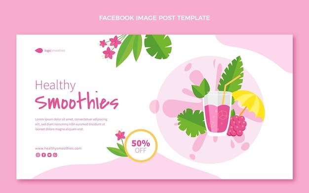 Postagem no facebook de smoothies de design plano