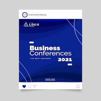 Postagem no instagram da conferência de negócios