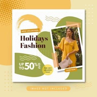 Postagem no instagram da venda de moda para férias nas redes sociais