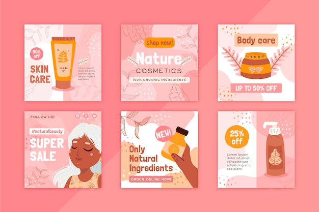 Postagem no instagram de cosméticos naturais, cuidados com a saúde do corpo