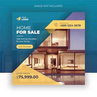 Postagem no instagram de imóveis imobiliários ou modelo de publicidade de banner web quadrado