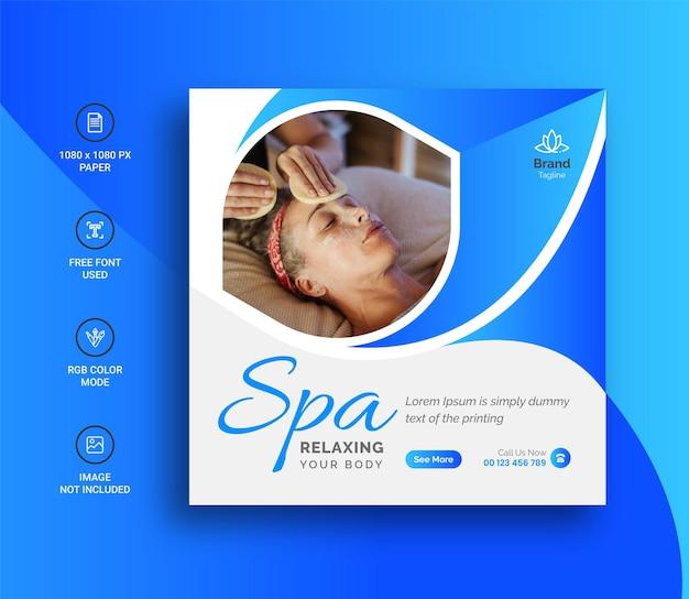 Postagem no instagram de mídia social do spa ou design de banner