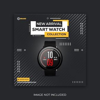Postagem no instagram de venda de relógio inteligente ou vetor premium de modelo de banner