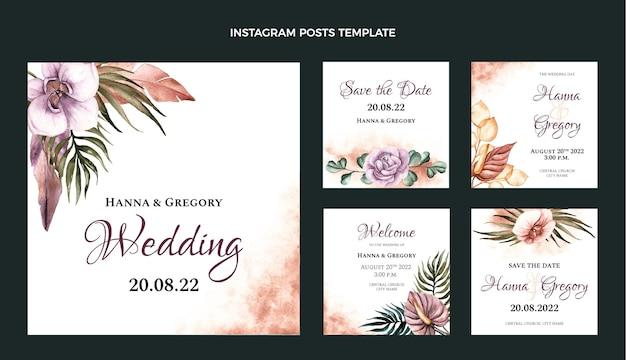Postagem no instagram do casamento boho em aquarela