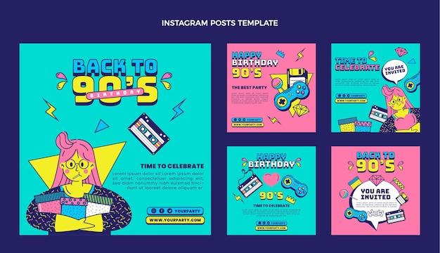 Postagem nostálgica do instagram do aniversário dos anos 90 desenhada à mão